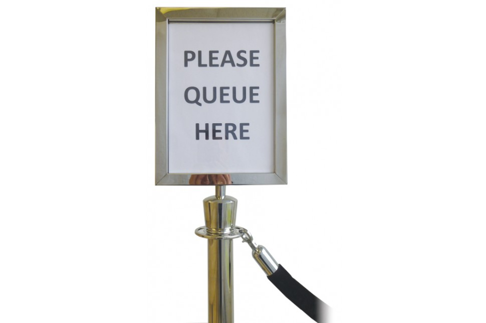 Rope barrier sign holder silver