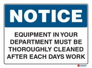 5009 Equipment In Your Department Must Be Throughly Cleaned After Each Days Work