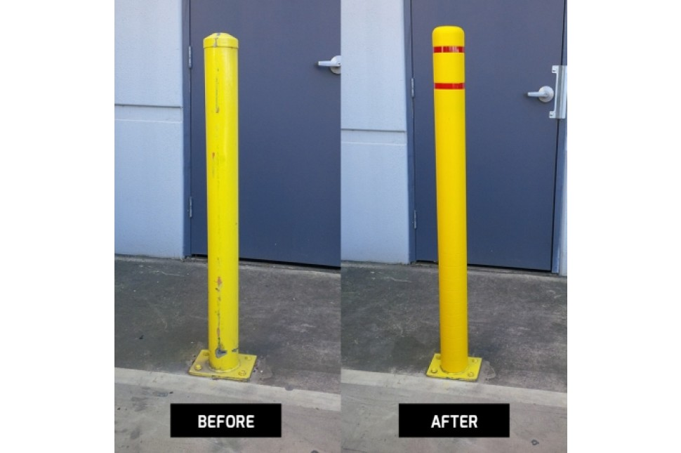 2. Plastic Bollard Covers Before After